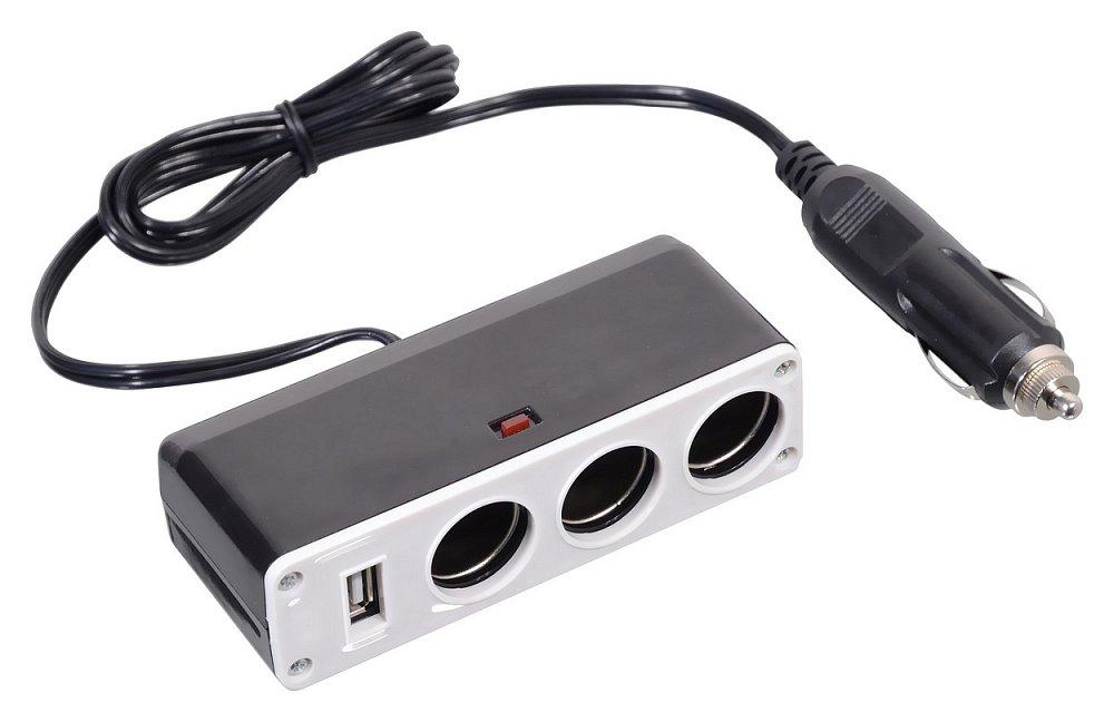 Roztrojka 12/24V + USB 1000mA