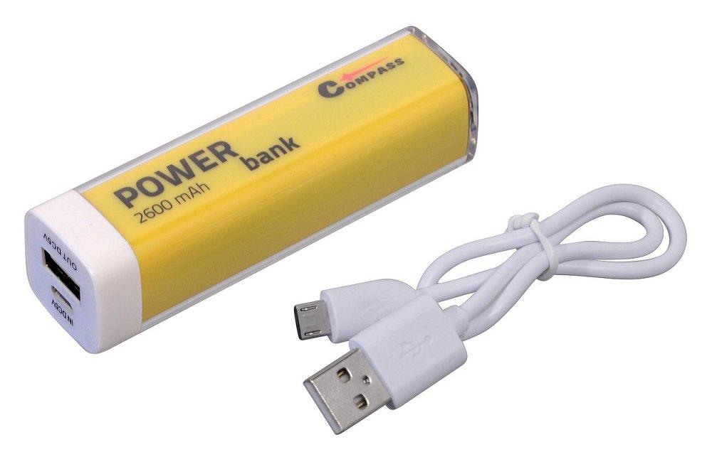 POWER BANK 2600mA žltý + 30cm kábel