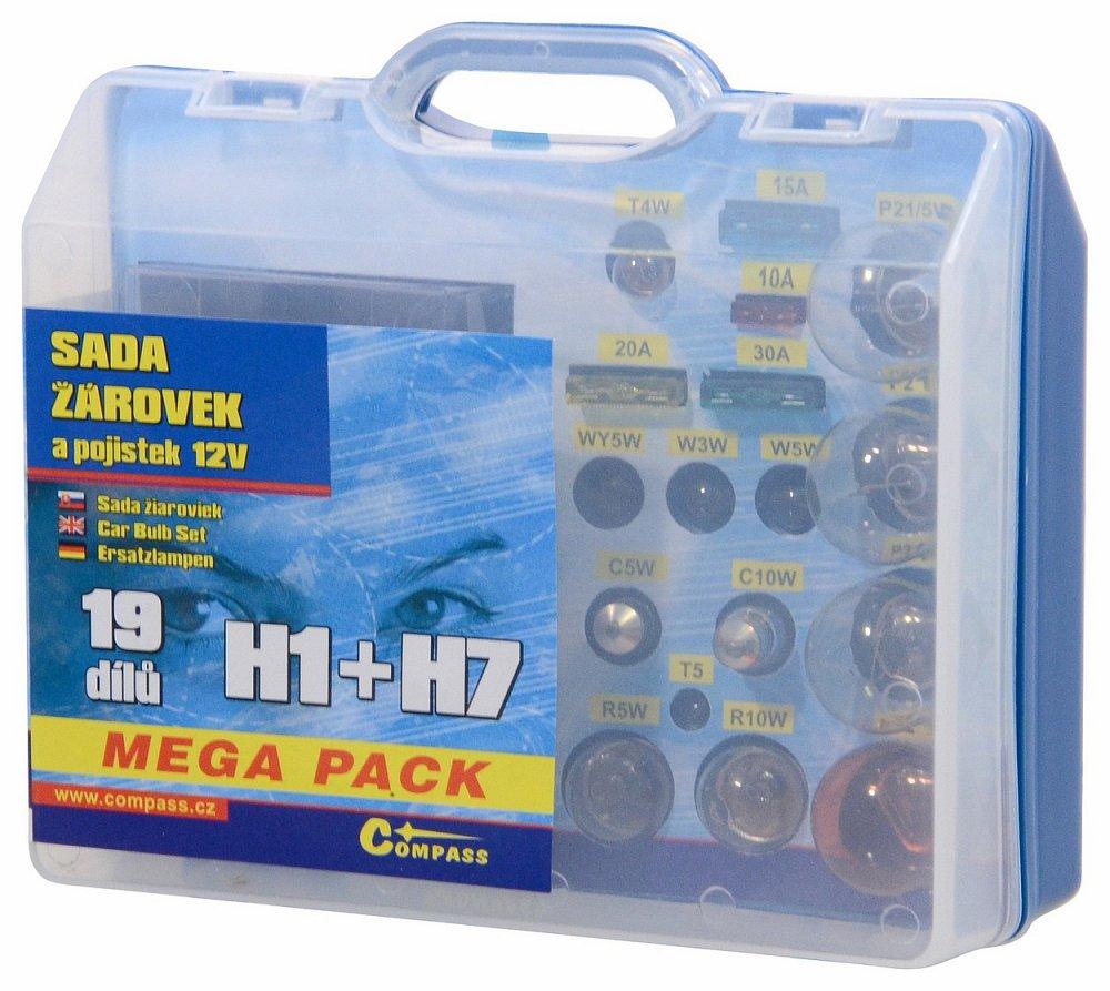 Žiarovky 12V servisný box MEGA H1+H7+poistky
