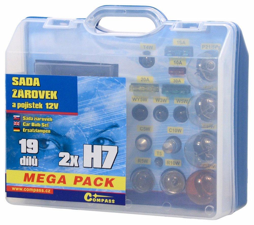 Žiarovky 12V servisný box MEGA H7+H7+poistky