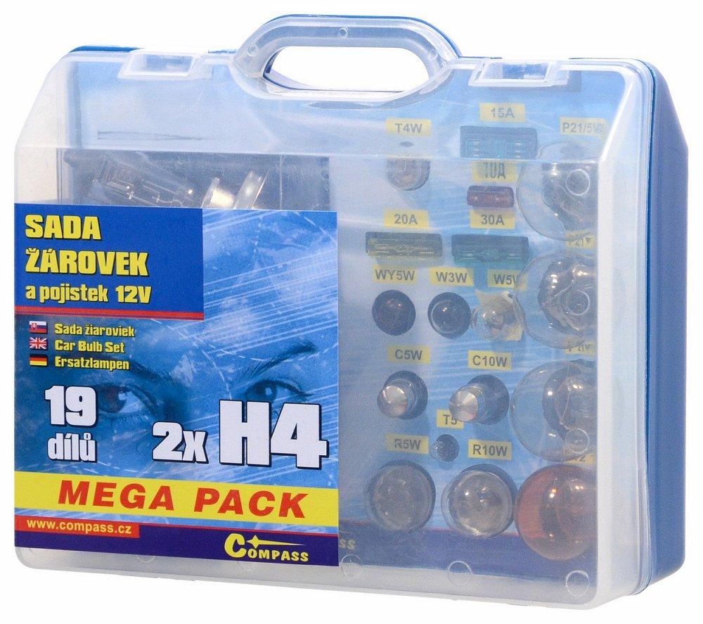 Žiarovky 12V servisný box MEGA H4+H4+poistky