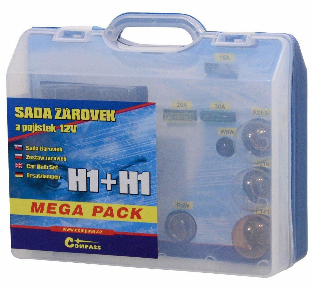 Žiarovky 12V servisný box MEGA H1+H1+poistky