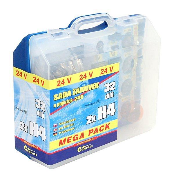 Žiarovky 24V servisný box MEGA H4+H4+poistky
