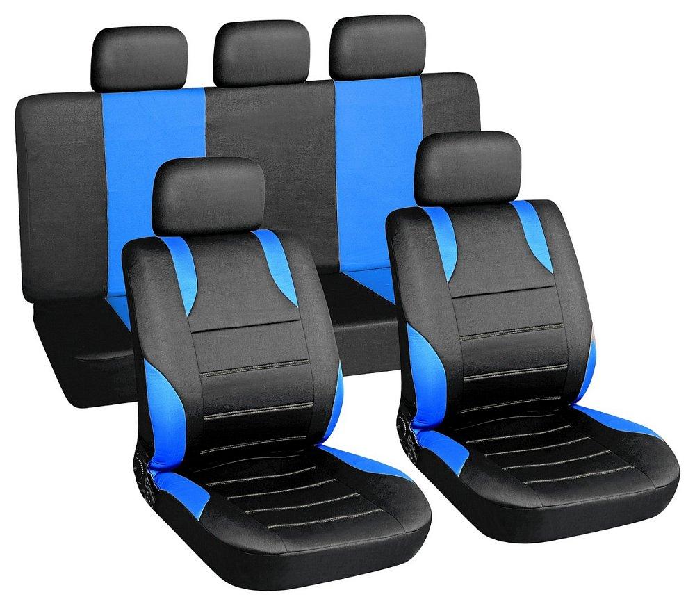 Poťahy sedadiel sada 9ks SPORT modré AIRBAG
