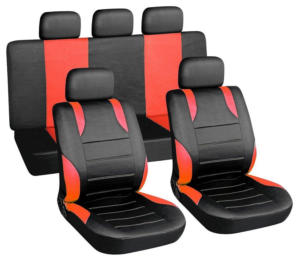 Poťahy sedadiel sada 9ks SPORT červené AIRBAG
