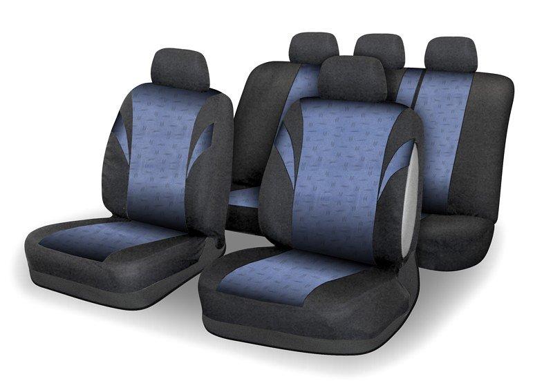 Poťahy sedadiel sada 9ks POLY modré AIRBAG