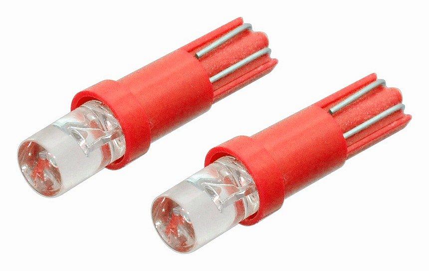 Žiarovka 1LED 12V  T5  červená  2ks