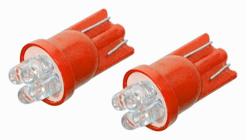 Žiarovka 4LED 12V  T10  červená  2ks