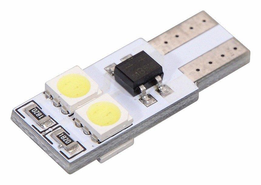Žiarovka 4 SMD LED 12V T10 s rezistorom CAN-BUS ready biela