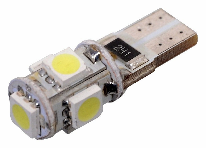 Žiarovka 5 SMD LED 12V T10 s rezistorom CAN-BUS ready biela