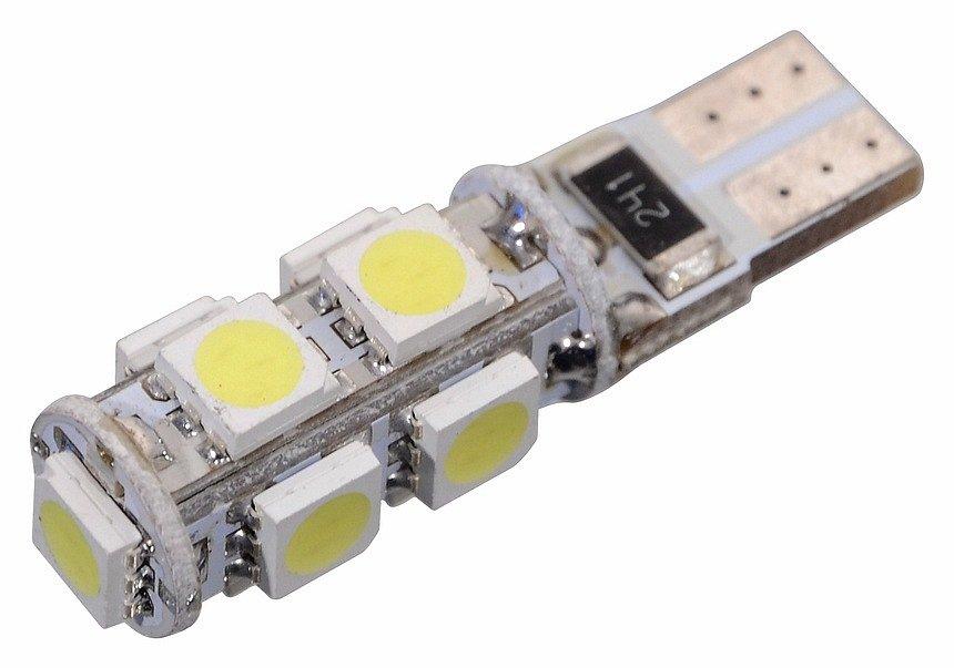 Žiarovka 9 SMD LED 12V T10 s rezistorom CAN-BUS ready biela