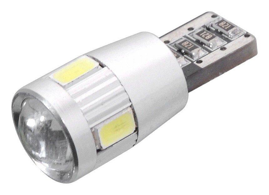 Žiarovka 6 SMD LED 12V T10 s rezistorom CAN-BUS ready biela