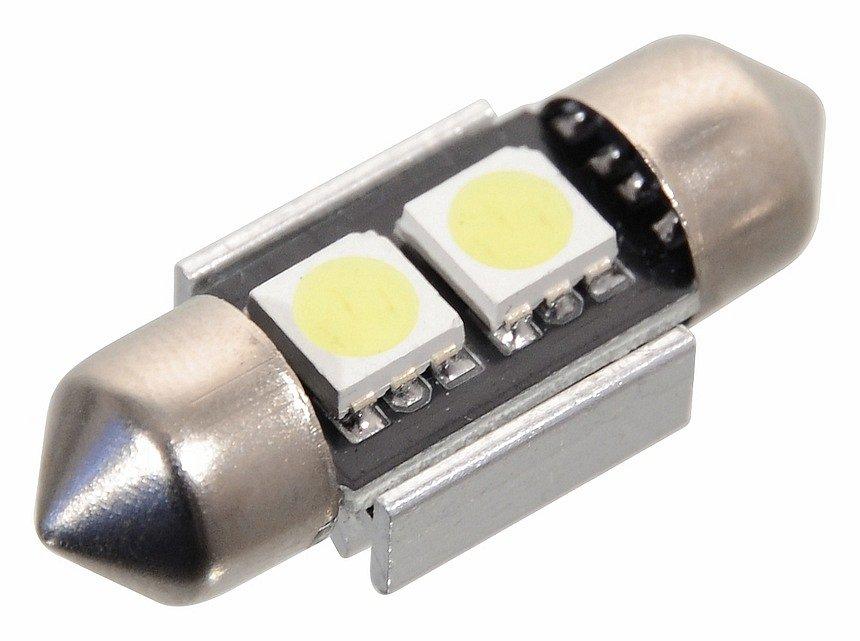Žiarovka 2 SMD LED 12V suf. SV8.5 s rezistorom CAN-BUS ready biela
