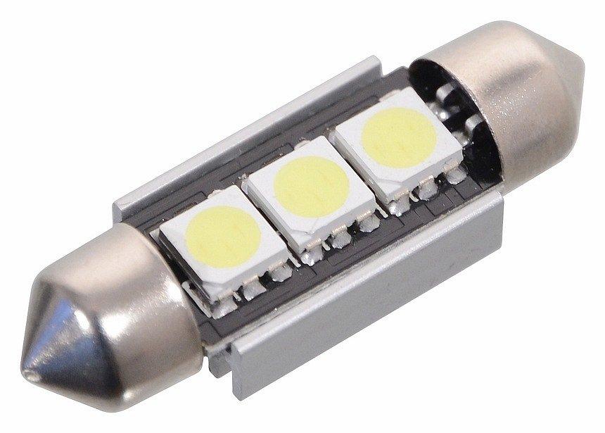 Žiarovka 3 SMD LED 12V suf. SV8.5 s rezistorom CAN-BUS ready biela