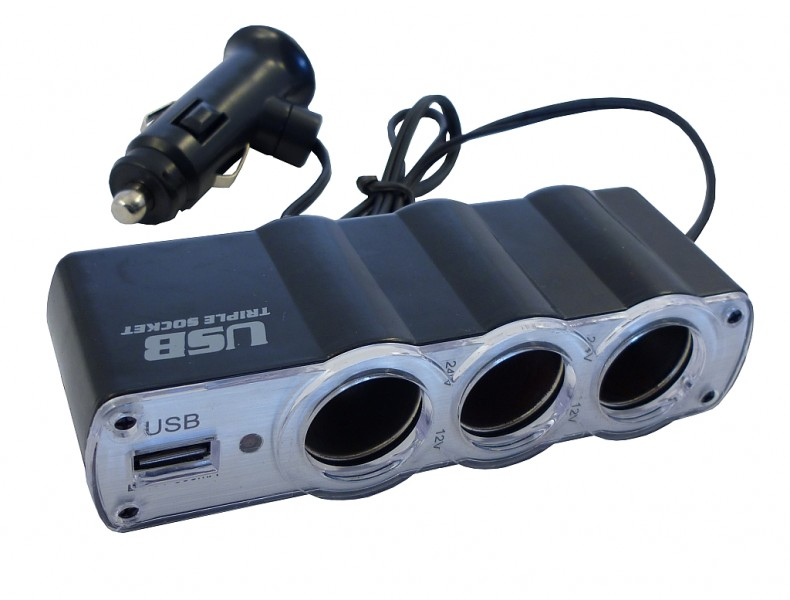 Rozbočka 12V 3x+USB Car