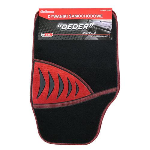 Koberce textilné Shark 4ks čierno-červené