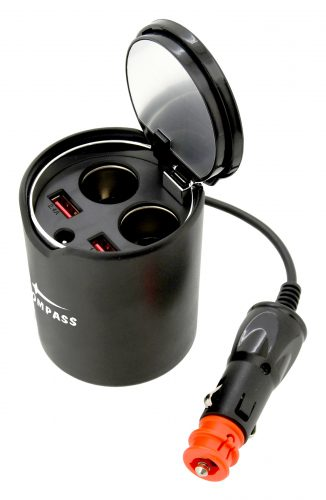 Rozdvojka do držiaku nápojov 12/24V 120W + 2x USB (1