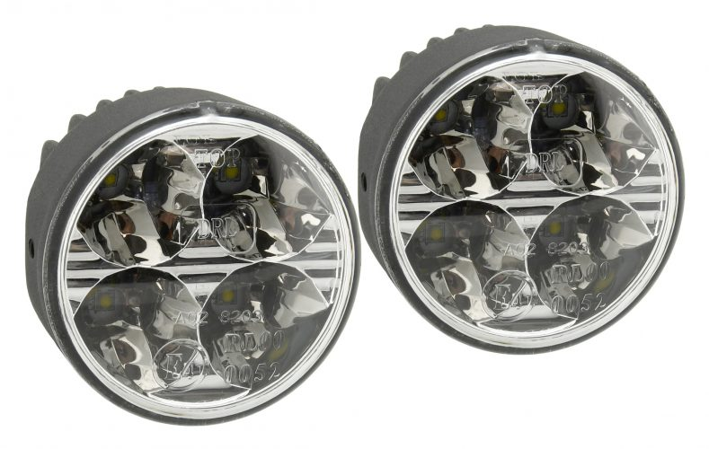 Svetlá denného svietenia 4 HIGH POWER LED 12V/24V (guľaté 70 mm)